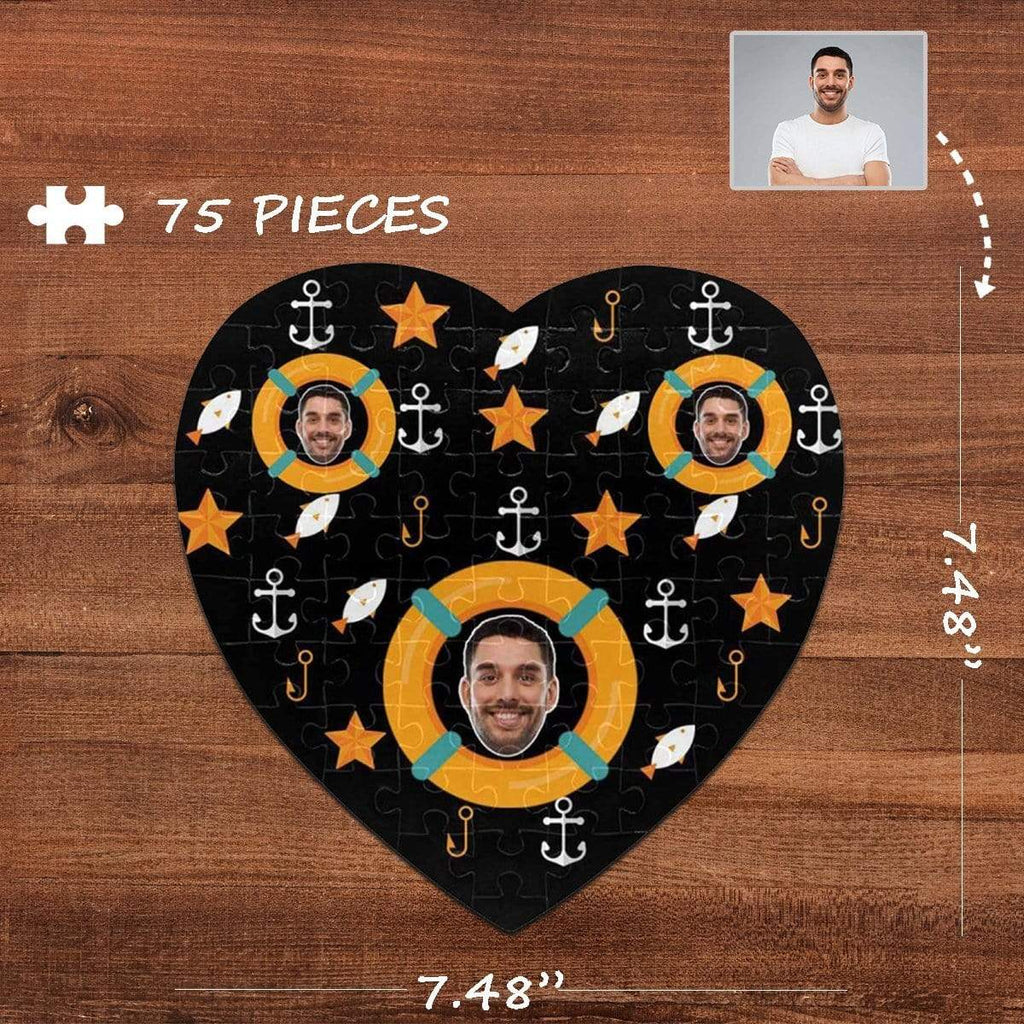 MybestBoxer Jigsaw Puzzle Custom Face Anchor Heart-Shaped Jigsaw Puzzle Best Indoor Gifts 75 Pieces