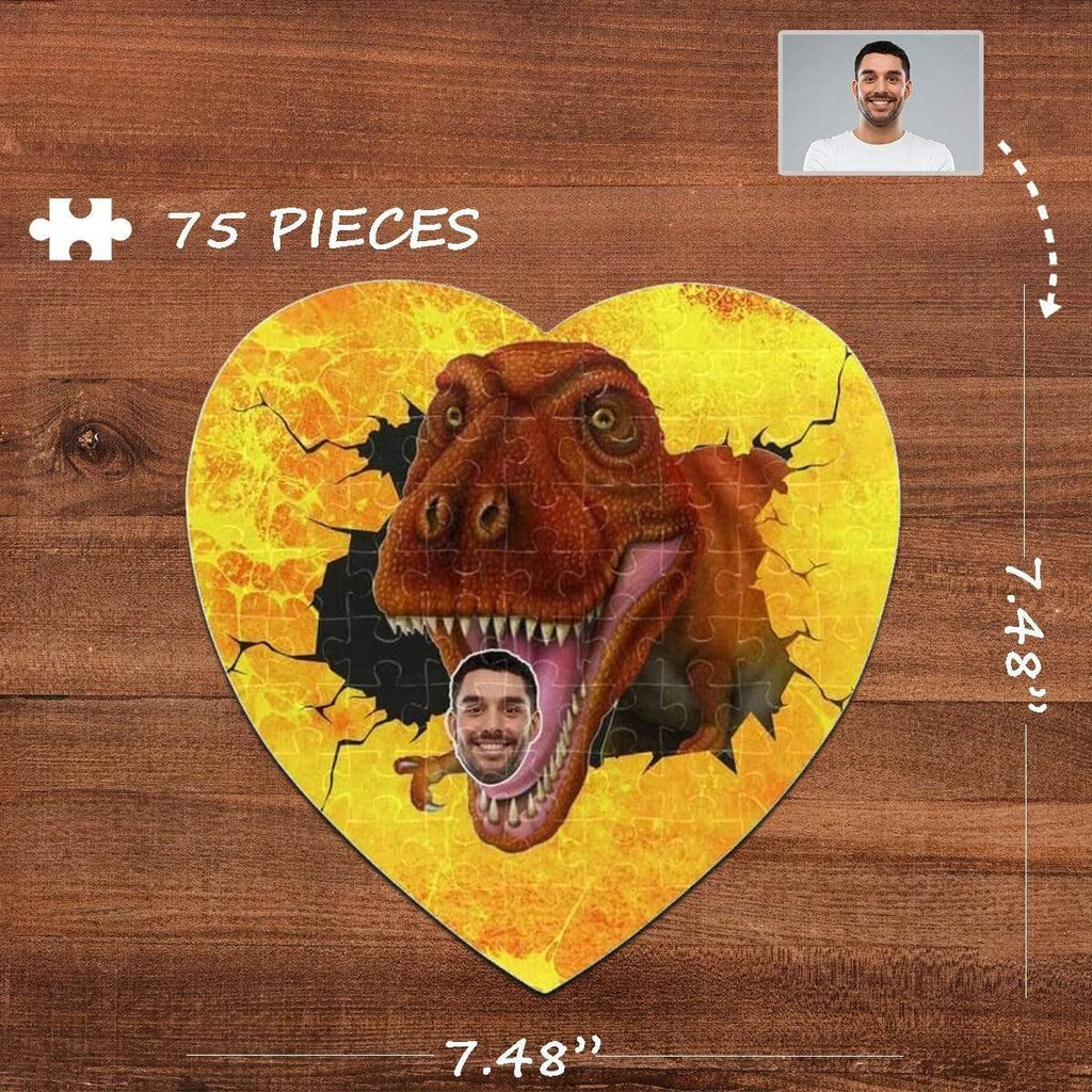 MybestBoxer Jigsaw Puzzle Custom Face Bite Heart-Shaped Jigsaw Puzzle Best Indoor Gifts For Lover 75 Pieces