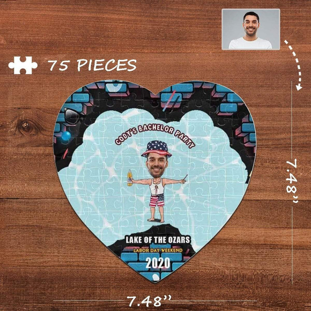 MybestBoxer Jigsaw Puzzle Custom Face Party Heart-Shaped Jigsaw Puzzle Best Indoor Gifts For Lover 75 Pieces