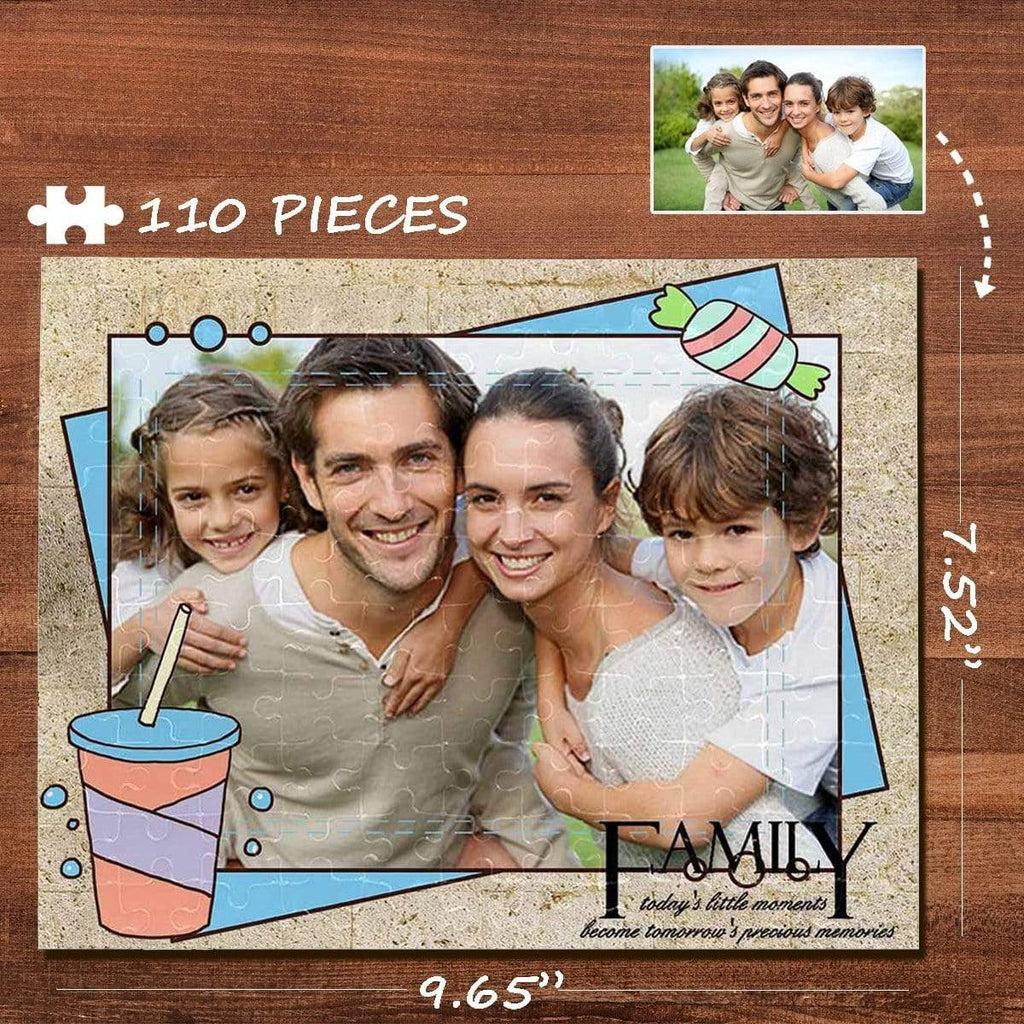 MybestBoxer Jigsaw Puzzle Custom Photo Cola Candy Family Rectangle Jigsaw Puzzle Best Indoor Gifts 110 Pieces