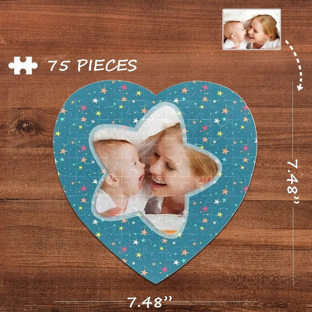 MybestBoxer Jigsaw Puzzle Custom Photo Colorful Stars Heart-Shaped Jigsaw Puzzle Best Indoor Gifts For Lover 75 Pieces