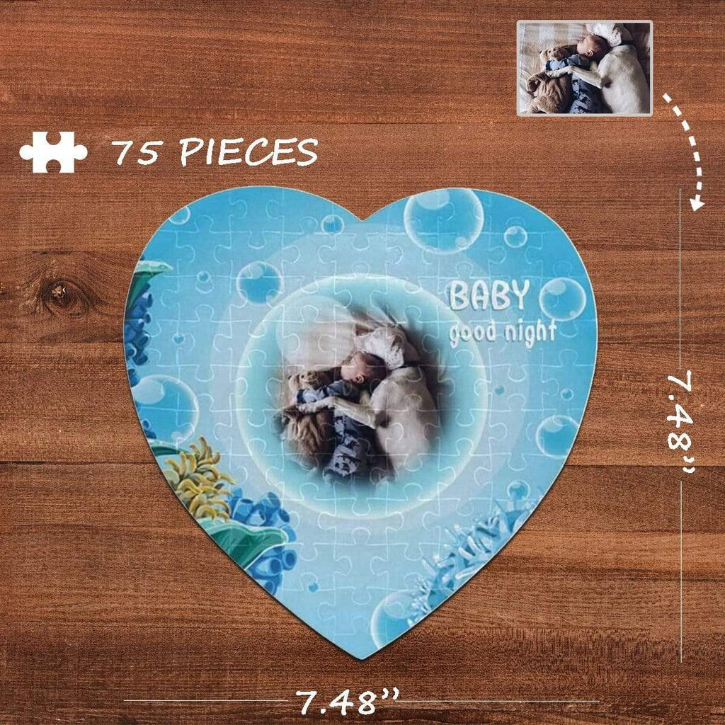 MybestBoxer Jigsaw Puzzle Custom Photo Good Night Heart-Shaped Jigsaw Puzzle Best Indoor Gifts For Lover 75 Pieces