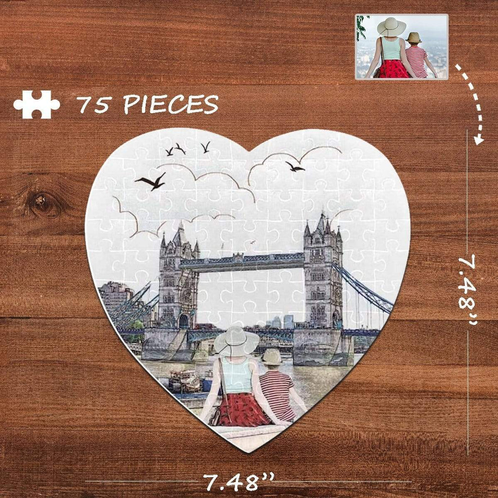 MybestBoxer Jigsaw Puzzle Custom Photo Happy Family Heart-Shaped Jigsaw Puzzle Best Indoor Gifts For Lover 75 Pieces