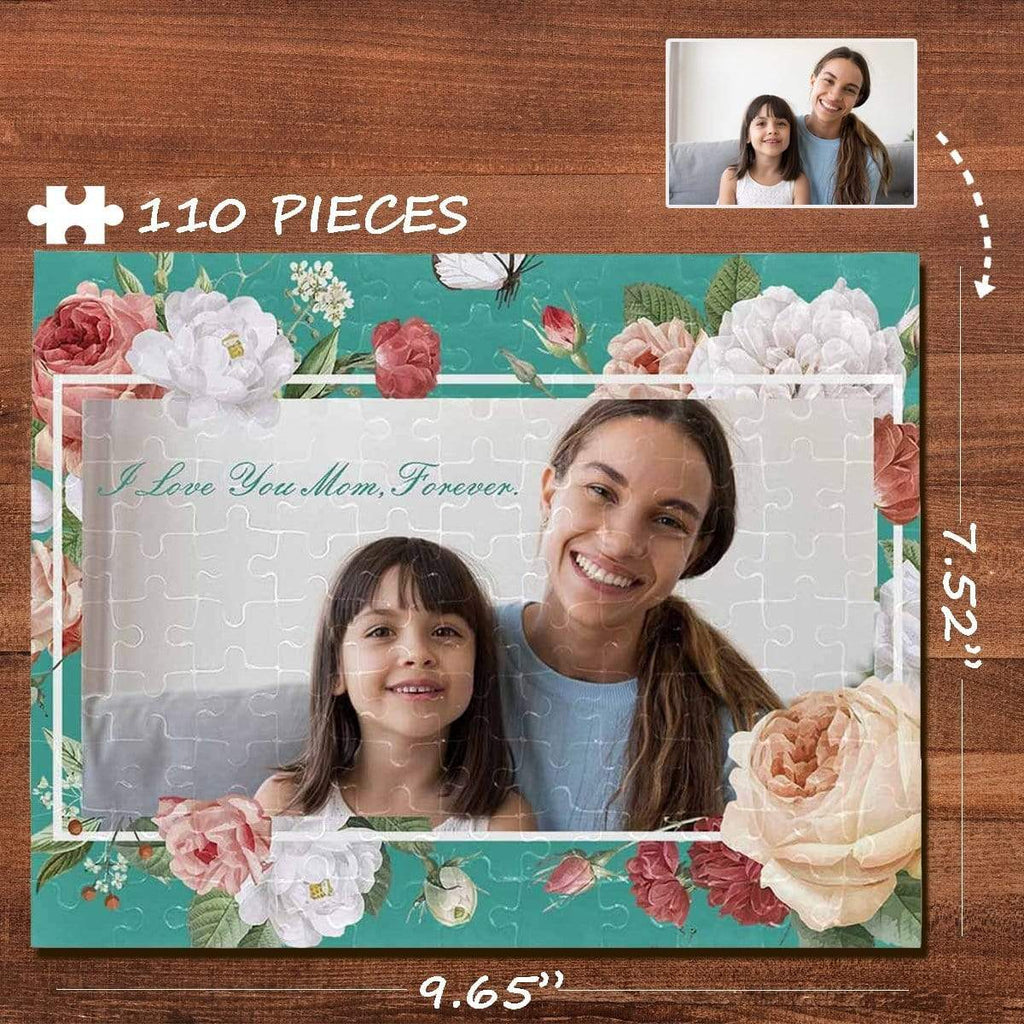 MybestBoxer Jigsaw Puzzle Custom Photo I Love You Mom Rectangle Jigsaw Puzzle Best Indoor Gifts 110 Pieces