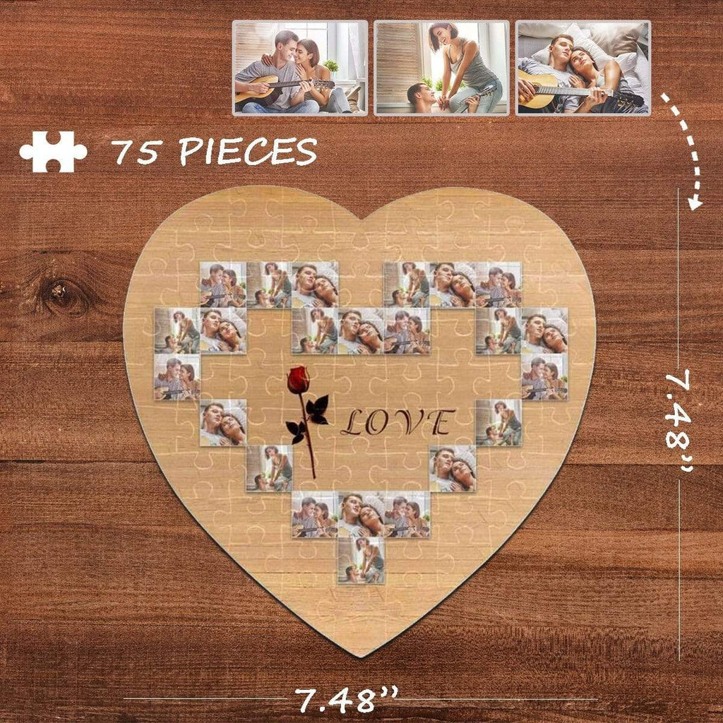 MybestBoxer Jigsaw Puzzle Custom Photo Love Heart-Shaped Jigsaw Puzzle Best Indoor Gifts For Lover 75 Pieces