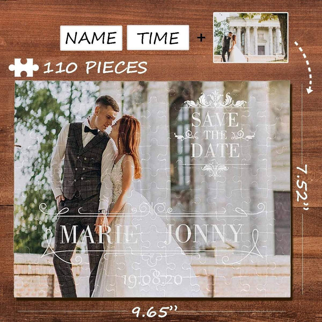 MybestBoxer Jigsaw Puzzle Custom Photo&Name&Time Wedding Rectangle Jigsaw Puzzle Best Indoor Gifts 110 Pieces