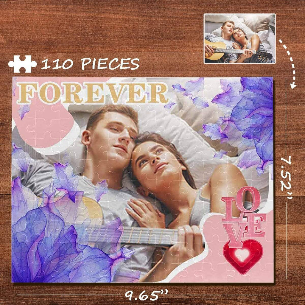 MybestBoxer Jigsaw Puzzle Custom Photo Purple Petals Rectangle Jigsaw Puzzle Best Indoor Gifts 110 Pieces