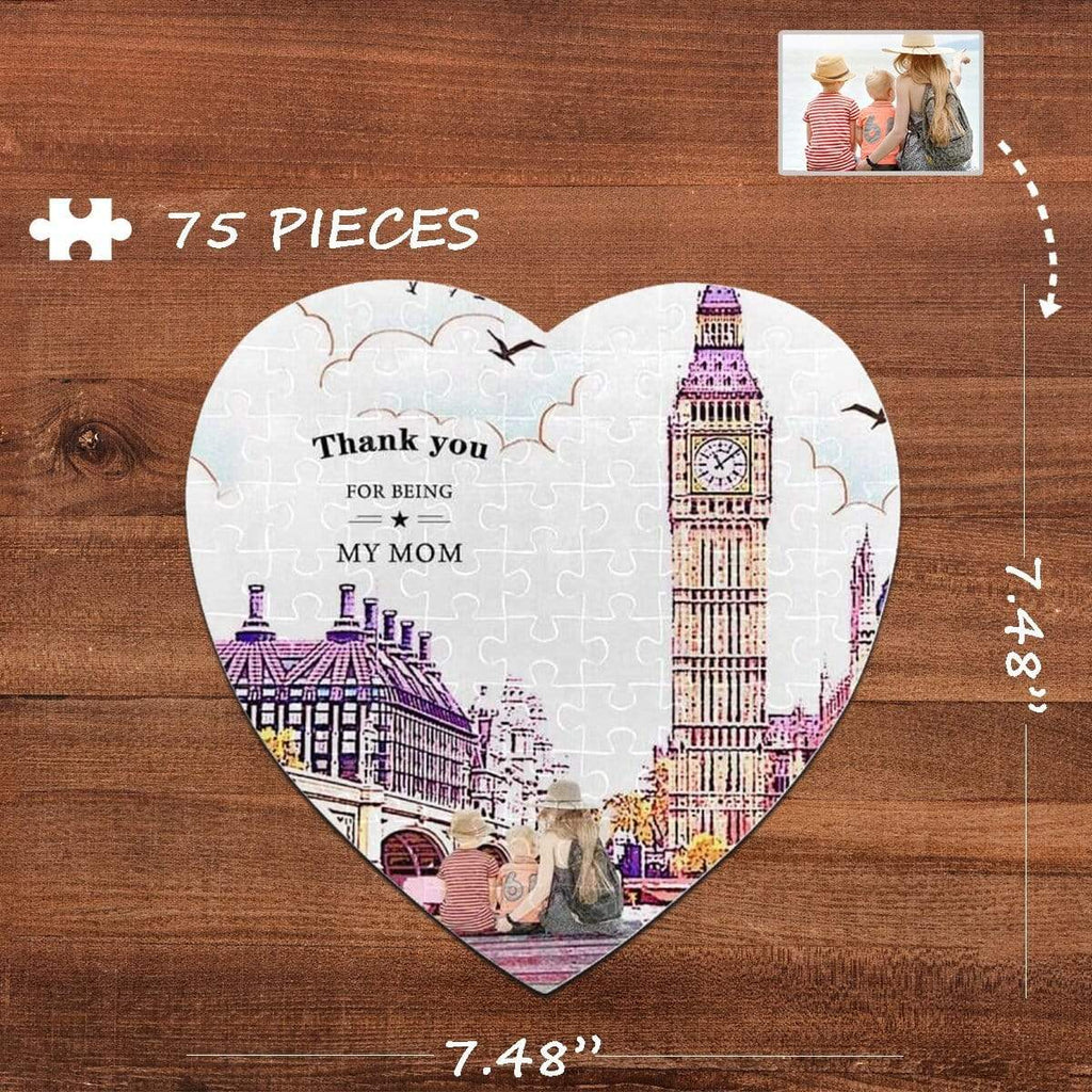 MybestBoxer Jigsaw Puzzle Custom Photo Thanks Mom Heart-Shaped Jigsaw Puzzle Best Indoor Gifts For Lover 75 Pieces