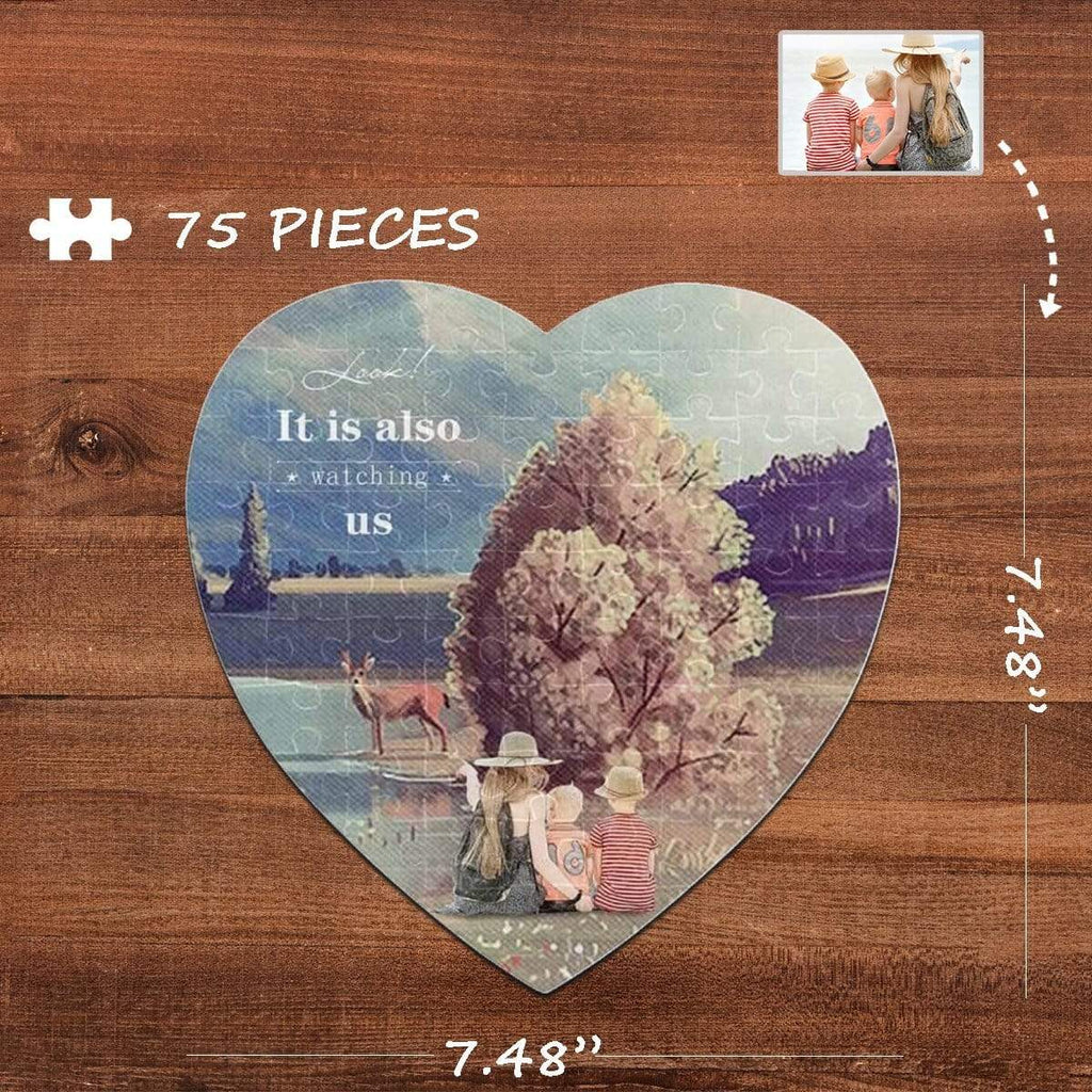MybestBoxer Jigsaw Puzzle Custom Photo Watching Us Heart-Shaped Jigsaw Puzzle Best Indoor Gifts For Lover 75 Pieces