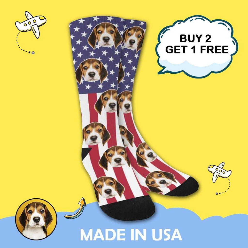 MybestBoxer Socks Custom Face American Flag Sublimated Crew Socks