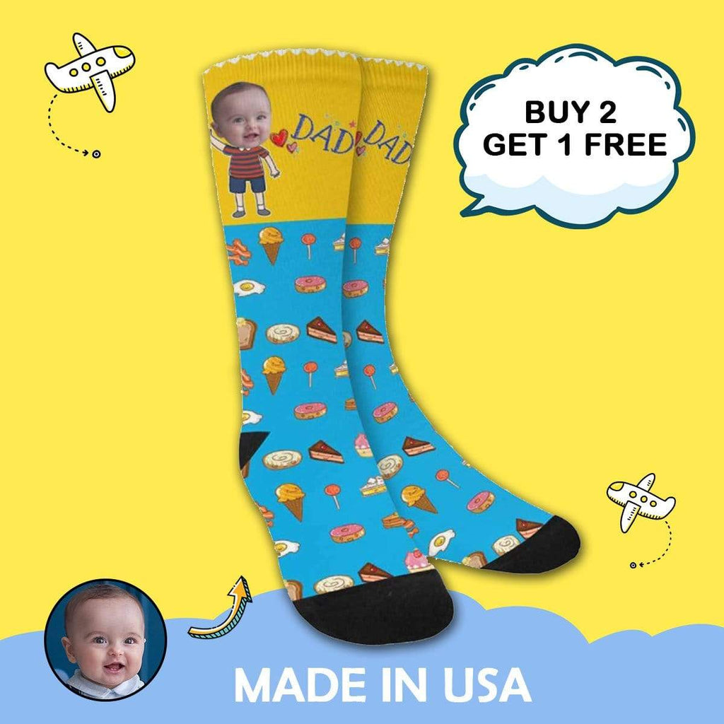 MybestBoxer Socks Custom Face Dad Ice Cream Sublimated Crew Socks