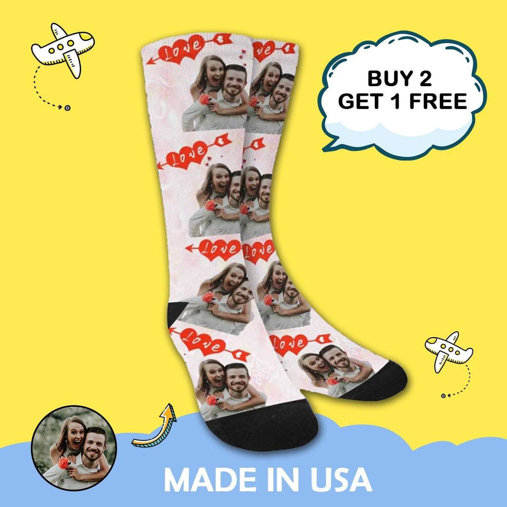 MybestBoxer Socks Custom Photo Love Couple Sublimated Crew Socks