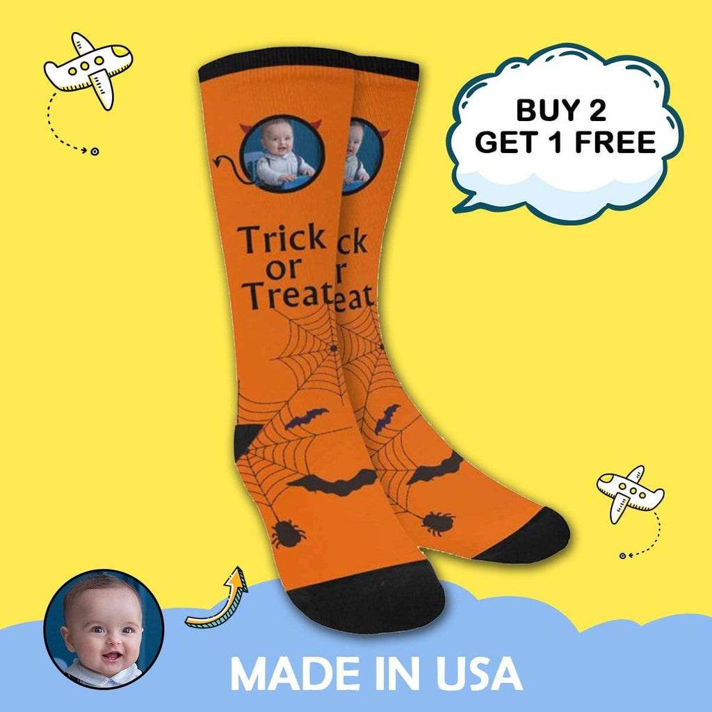MybestBoxer Socks Custom Photo Trick Treat Bat Sublimated Crew Socks