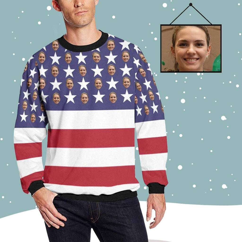 MybestBoxer Sweatshirt Custom Face American Flag Men's All Over Print Crewneck Sweatshirt