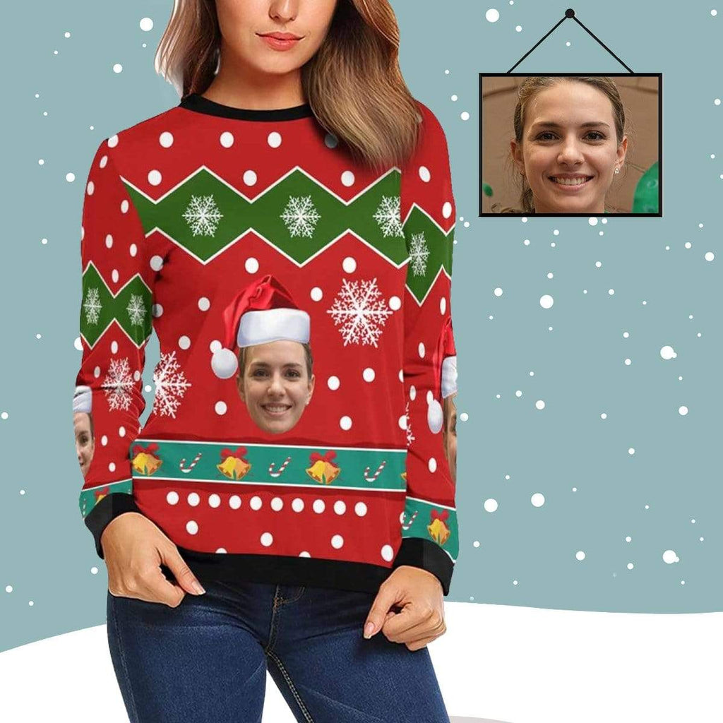 MybestBoxer Sweatshirt Custom Face Christmas Hat Women's All Over Print Crewneck Sweatshirt