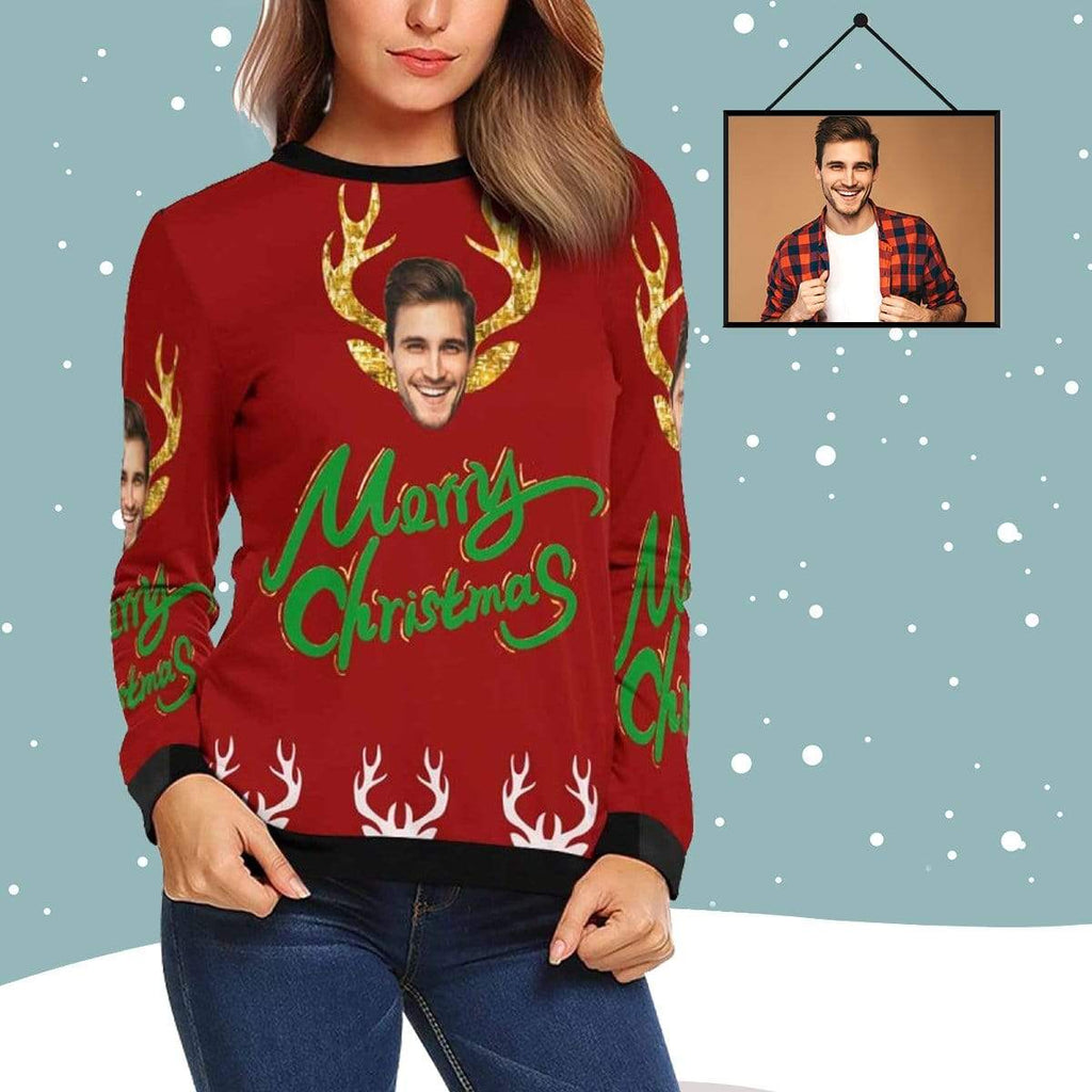 MybestBoxer Sweatshirt Custom Face Merry Christmas Women's All Over Print Crewneck Sweatshirt