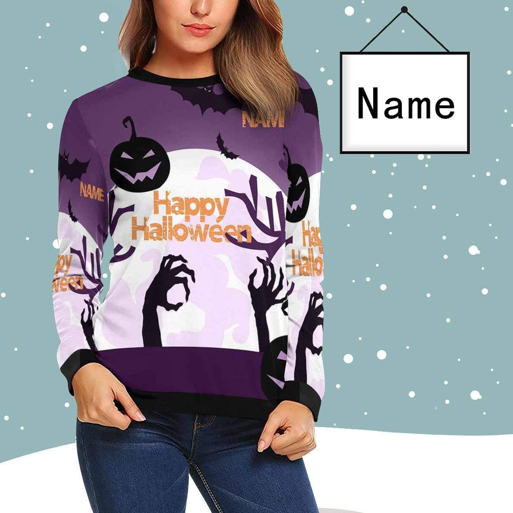 MybestBoxer sweatshirt Custom Name Purple Happy Halloween Women's Crewneck Sweatshirt