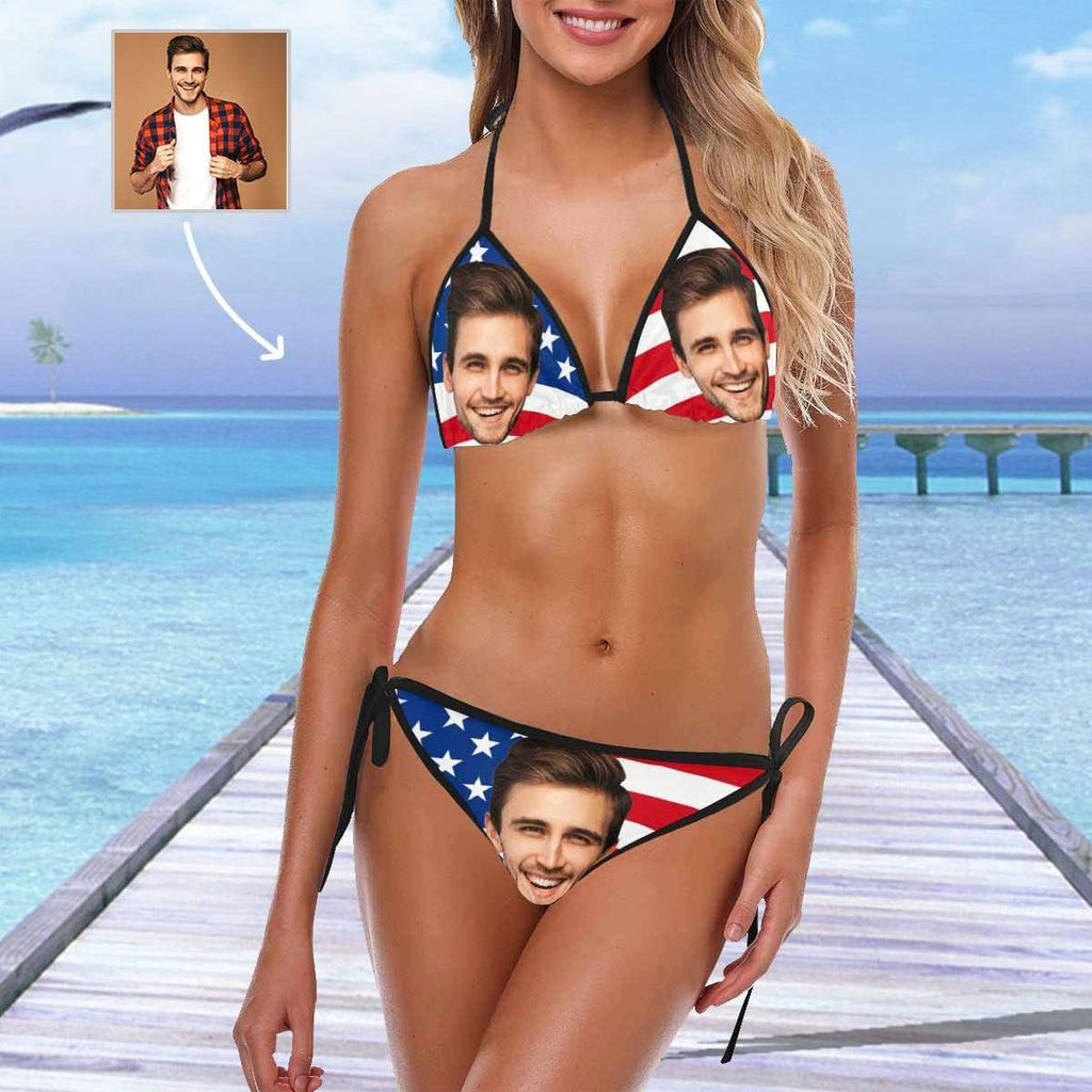 MybestBoxer Swimsuit Custom Face American Flag Bikini Swimsuit