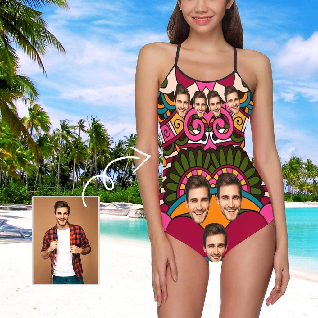 MybestBoxer Swimsuit Custom Face Colorful Flower Women's Slip One Piece Swimsuit