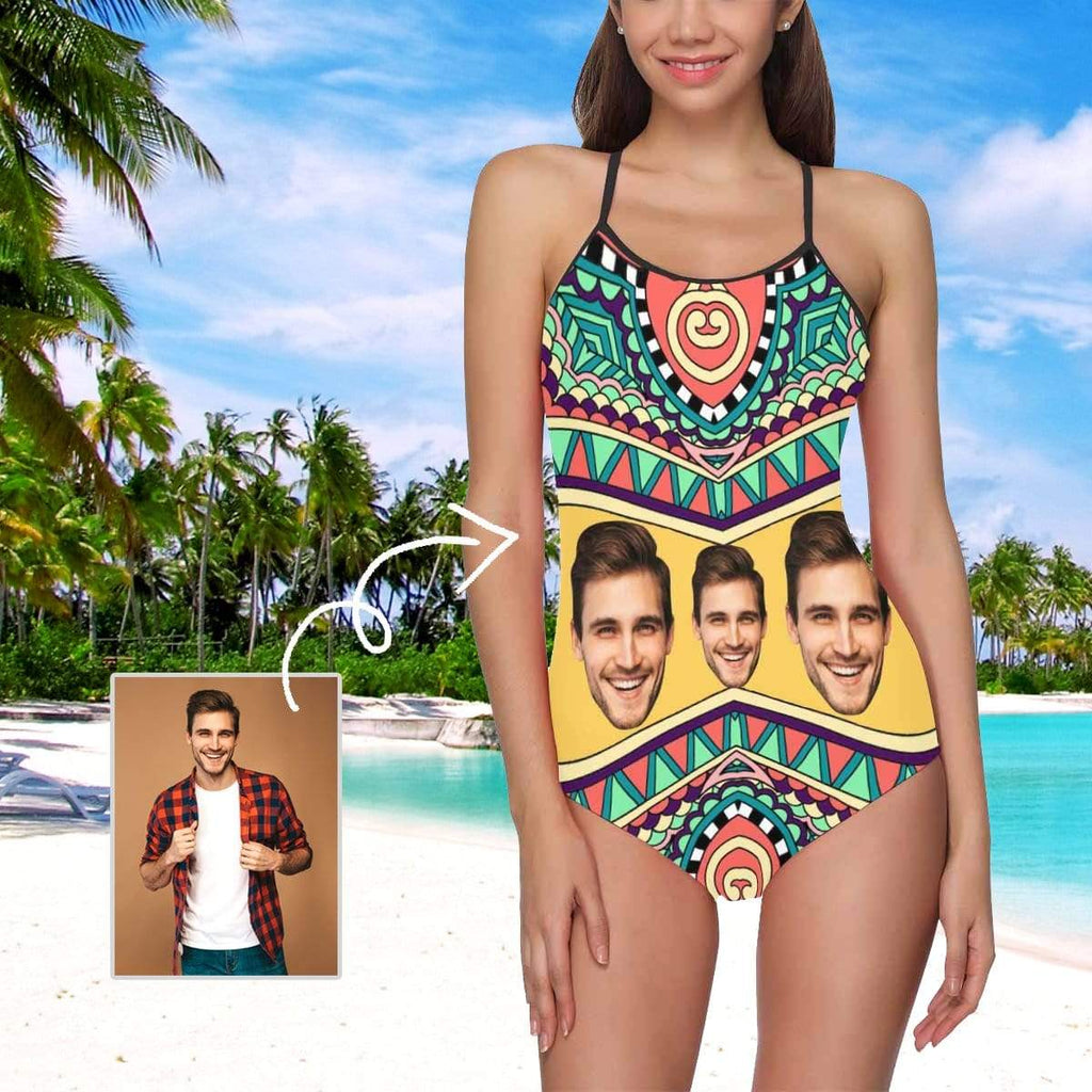 MybestBoxer Swimsuit Custom Face Pattern Women's Slip One Piece Swimsuit
