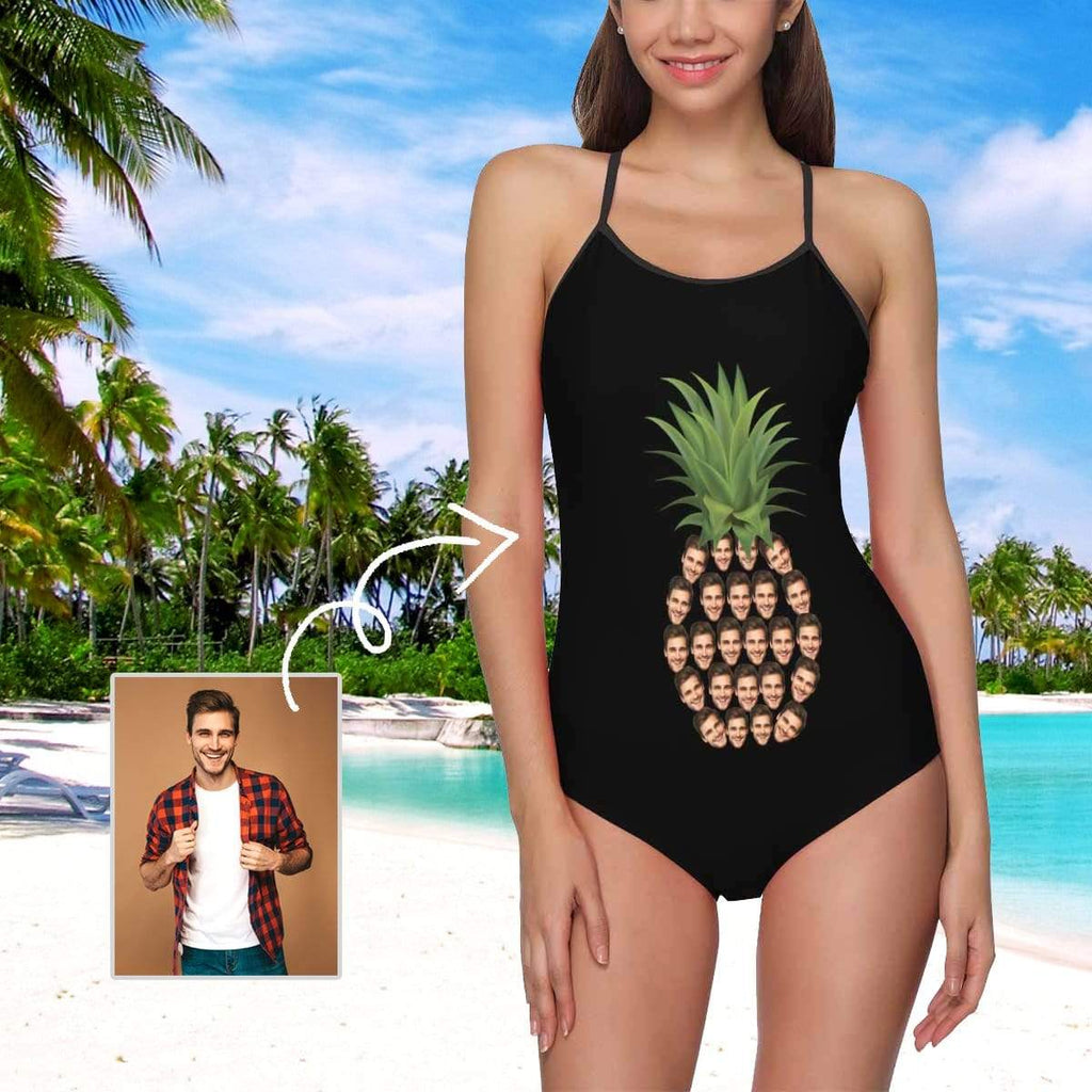 MybestBoxer Swimsuit Custom Face Pineapple Women's Slip One Piece Swimsuit