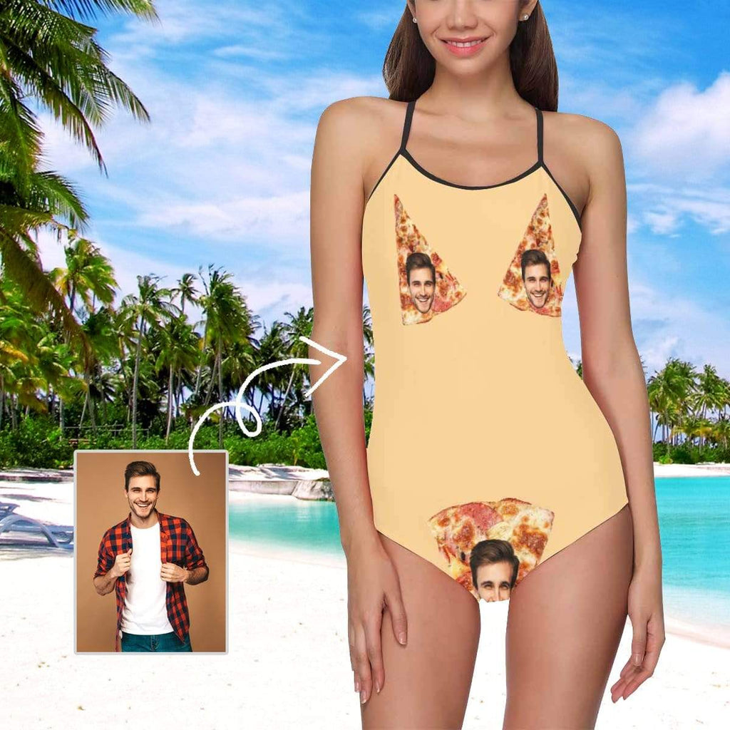 MybestBoxer Swimsuit Custom Face Pizza Women's Slip One Piece Swimsuit