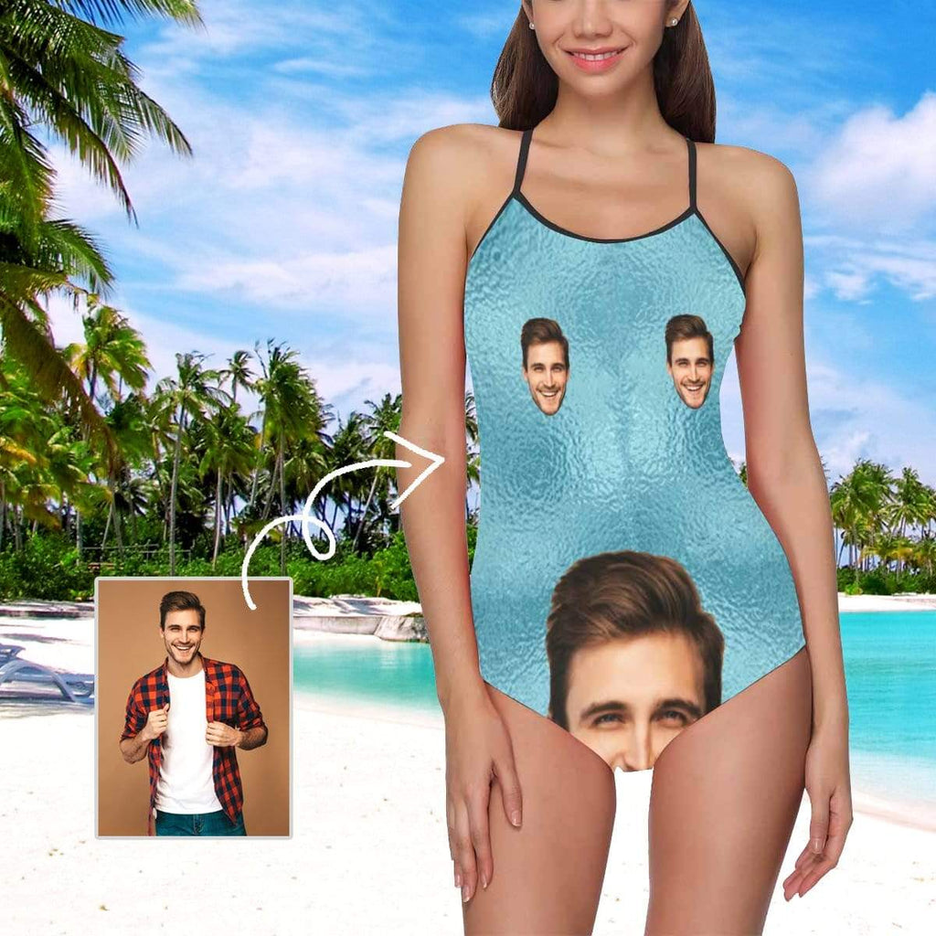 MybestBoxer Swimsuit Custom Face Simple Blue Women's Slip One Piece Swimsuit