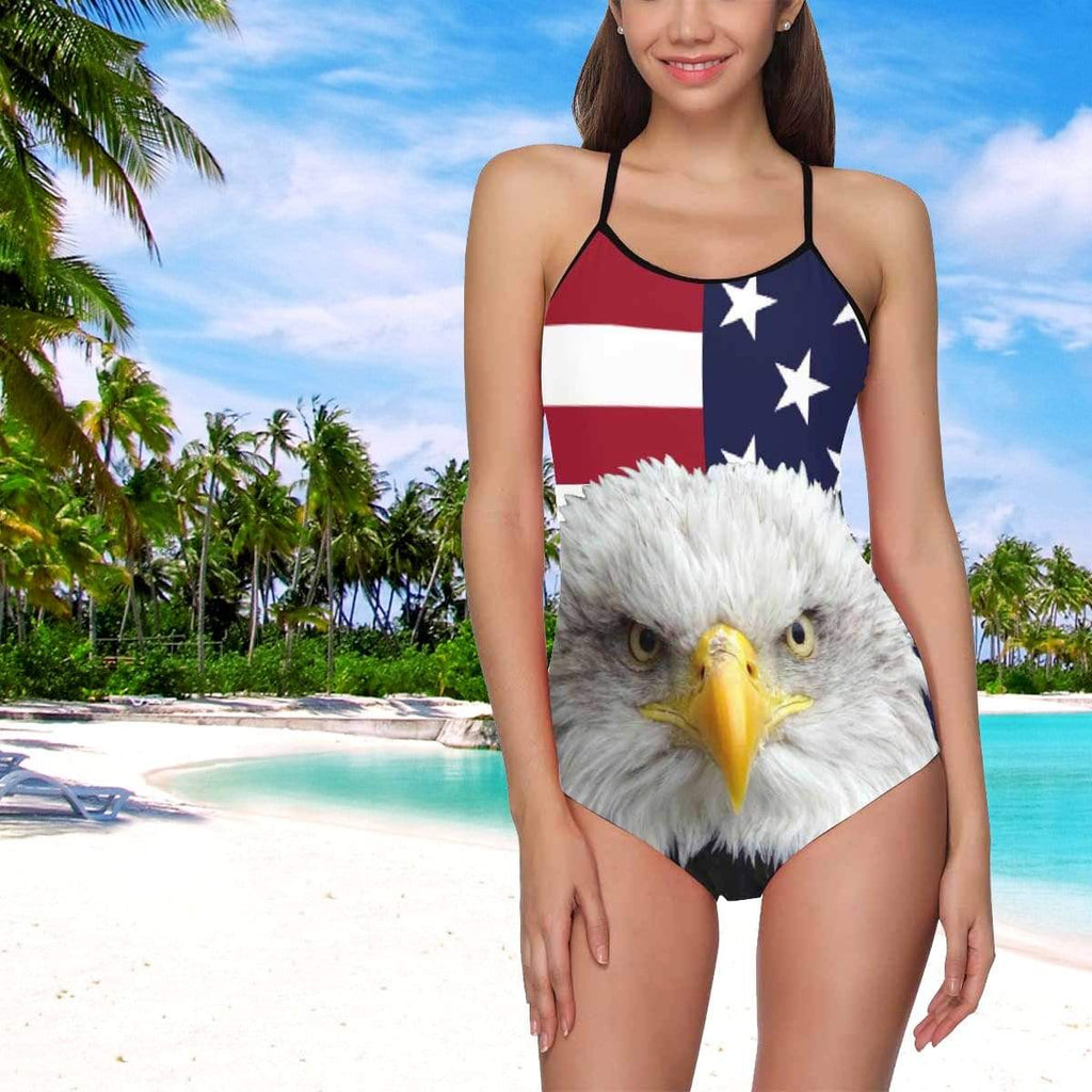 MybestBoxer National Flag Eagle Women's Slip One Piece Swimsuit