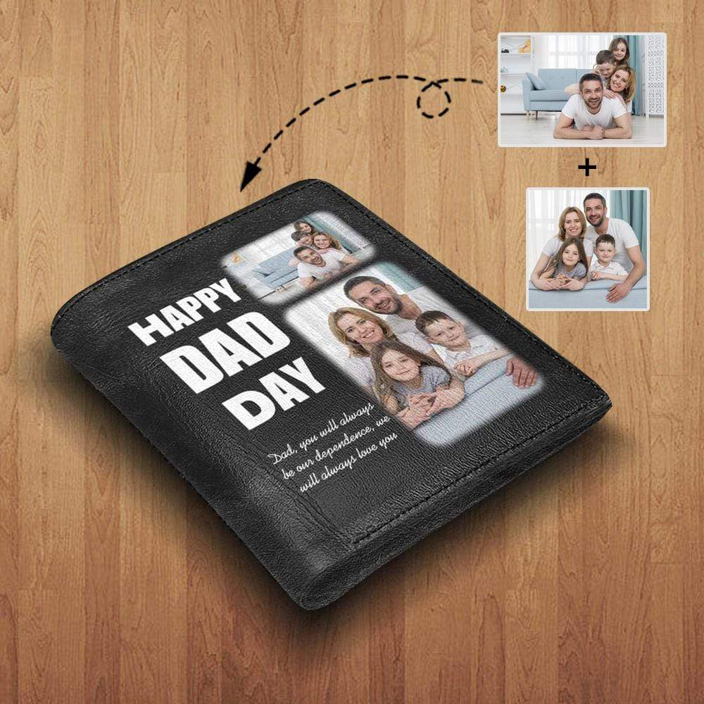 MybestBoxer Wallet Custom Photo Family & Happy Dad's Day Leather Wallet