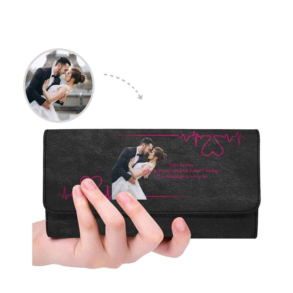 MybestBoxer Wallet Custom Photo Heartbeat Women's Trifold Leather Wallet