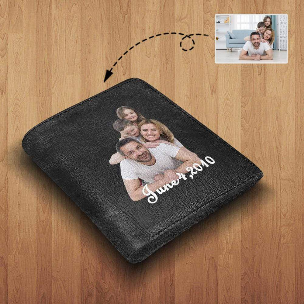 MybestBoxer Wallet Custom Photo & Text Family Pure Black Leather Wallet