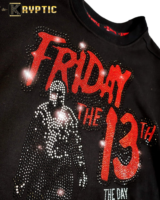 deKryptic x Friday The 13th™ Black Rhinestoned Crewneck