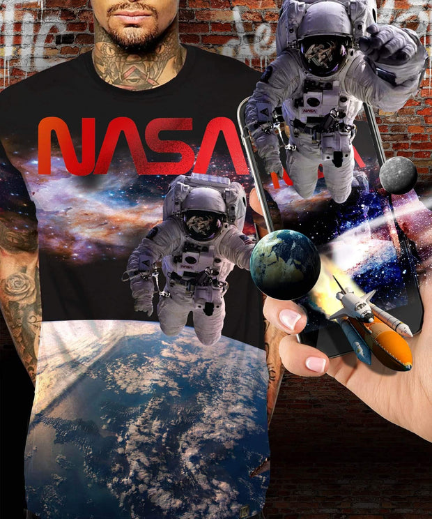 NASA™ Spaceman Black Augmented Reality T-Shirt