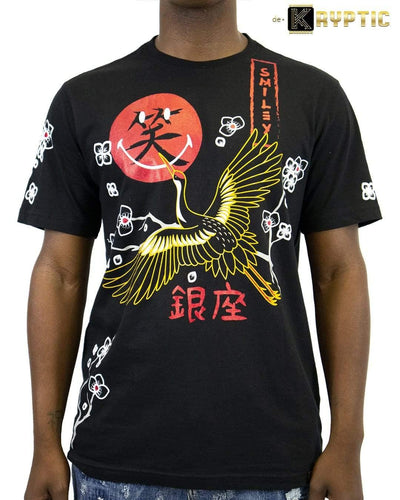 deKryptic x Smiley - Japan Crane Augmented Reality Black T-Shirt - de•Kryptic