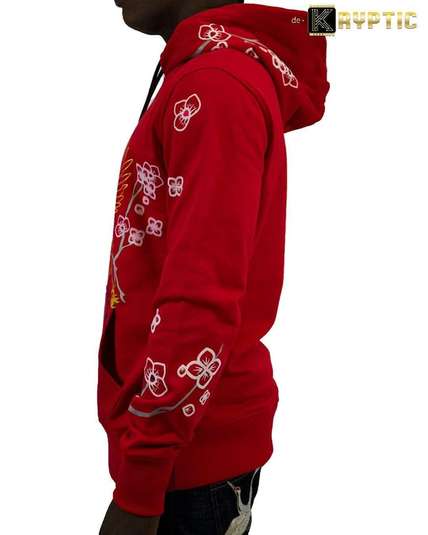 deKryptic x Smiley - Japan Crane Augmented Reality Red Hoodie - de•Kryptic