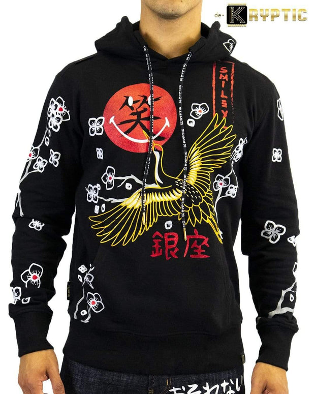 deKryptic x Smiley - Japan Crane Augmented Reality Black Hoodie