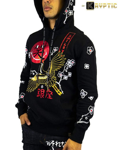 deKryptic x Smiley - Japan Crane Augmented Reality Black Hoodie - de•Kryptic
