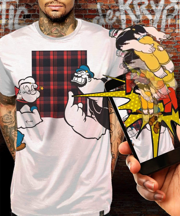 Popeye™ vs Bluto Plaid Augmented Reality T-Shirt - de•Kryptic