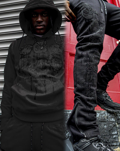 deKryptic x Popeye® Frens And Emenies Rhinestoned Black Hoodie & Sweatpant Set - de•Kryptic