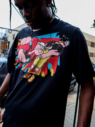deKryptic x Popeye® K.O Rhinestoned Black T-Shirt - de•Kryptic