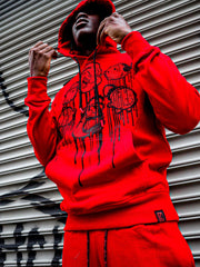 deKryptic x Popeye® Frens And Emenies Rhinestoned Red Hoodie & Sweatpant Set - de•Kryptic
