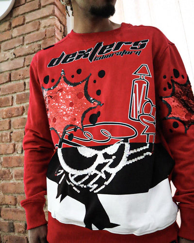 deKryptic x Dexter's Laboratory™ - Blaster Red Sequined Crew Neck
