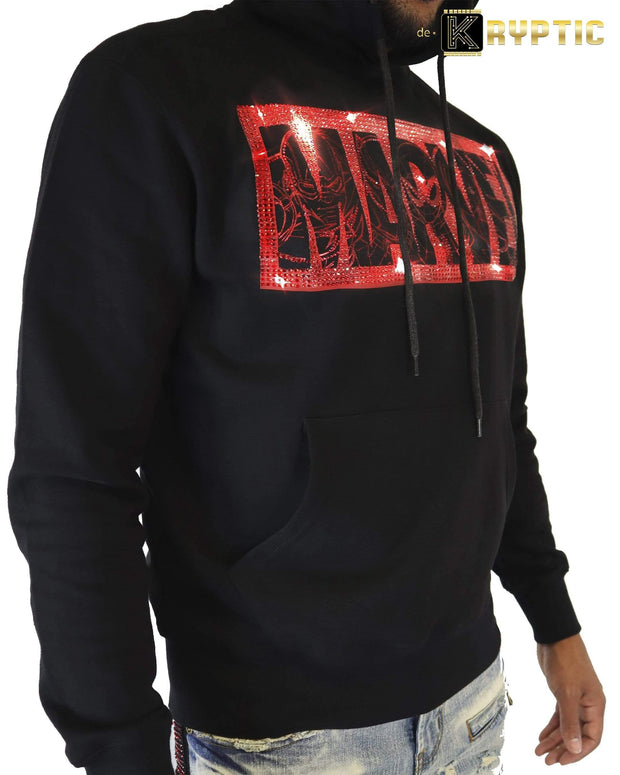 deKryptic x MARVEL© - Avengers Red Sketch Logo Black Hoodie