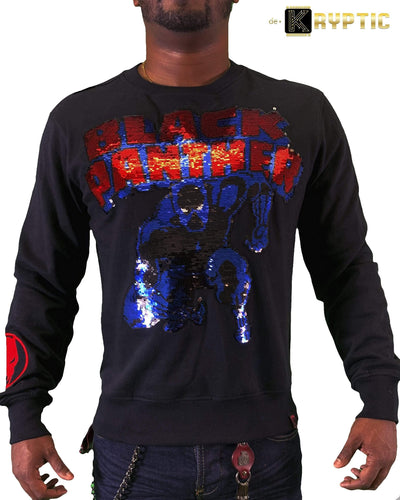 deKryptic x Marvel© x Black Panther - Monarch - Black Crewneck - de•Kryptic