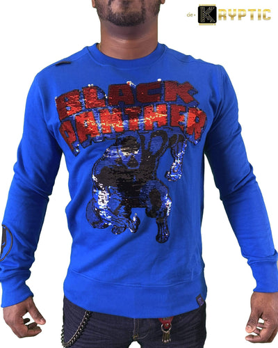 deKryptic x Marvel© x Black Panther - Monarch - Blue Crewneck - de•Kryptic