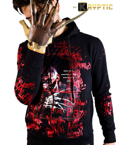 deKryptic x Nightmare On Elm Street™ Freddy Krueger Black Foil Hoodie - de•Kryptic