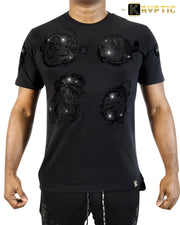 deKryptic x Popeye® Frens And Emenies Rhinestoned Black T-Shirt - de•Kryptic
