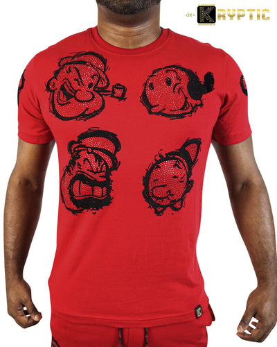 deKryptic x Popeye® Frens And Emenies Rhinestoned Red T-Shirt