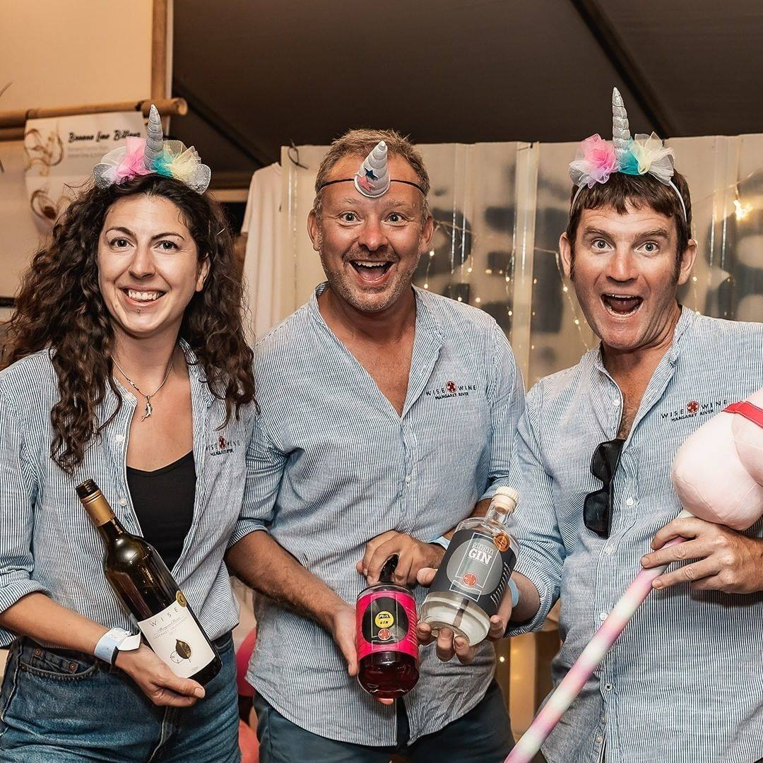 Fun times at Wise Wine with staff dressed as unicorns