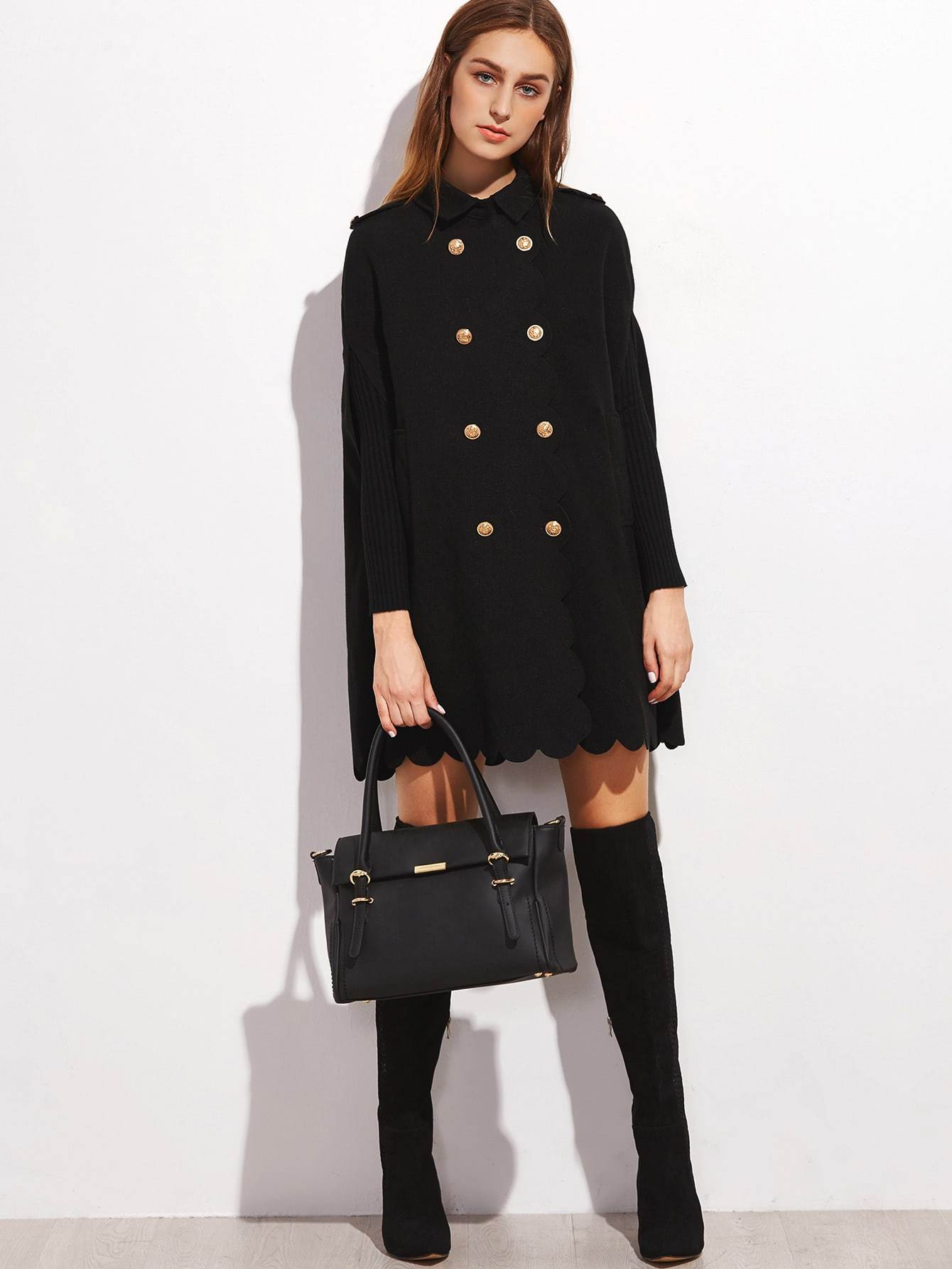 Black Double Breasted Scallop Edge Cape Coat
